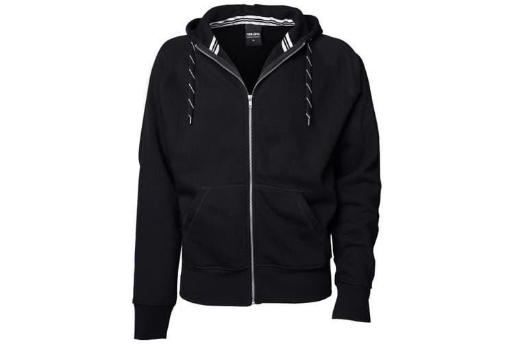 Tee Jays Mens Full Zip Hooded Sweatshirt (Black) (3XL)