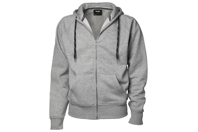 Tee Jays Mens Full Zip Hooded Sweatshirt (Heather Grey) (3XL)