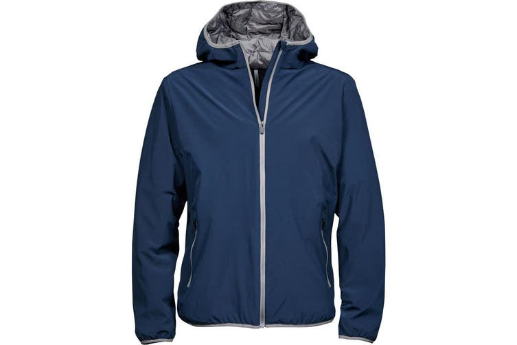 Tee Jays Mens New York Jacket (Waterproof  Windproof & Breathable) (Navy/Light Grey) (3XL)