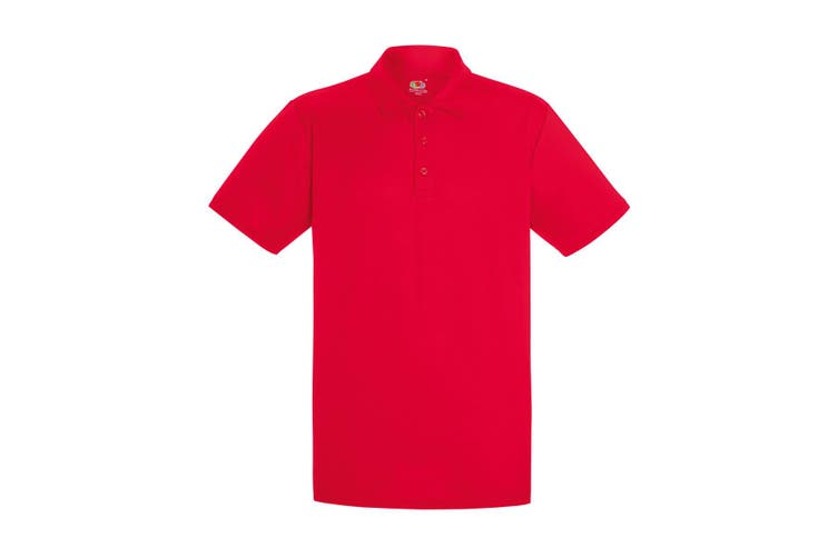 Fruit Of The Loom Mens Short Sleeve Moisture Wicking Performance Polo Shirt (Red) (3XL)
