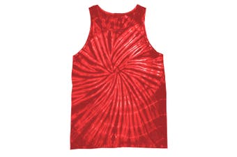 Colortone Womens/Ladies Sleeveless Tie-Dye Tank Top (Spiral Red) (XL)