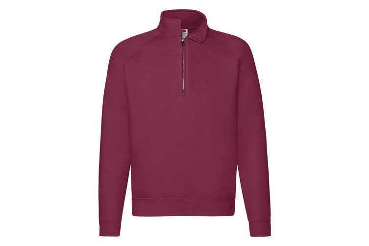 Fruit Of The Loom Mens Zip Neck Sweatshirt (Burgundy) (XL)