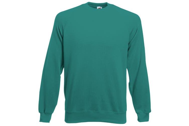 Fruit Of The Loom Childrens/Kids Unisex Raglan Sleeve Sweatshirt (Emerald) (12-13)