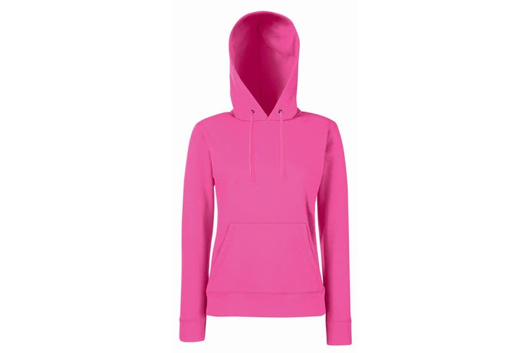 Fruit Of The Loom Ladies Lady Fit Hooded Sweatshirt / Hoodie (Fuchsia) (XL)