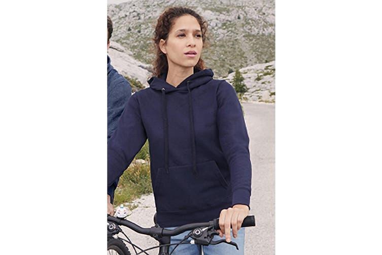 Fruit Of The Loom Ladies Lady Fit Hooded Sweatshirt / Hoodie (Deep Navy) (XS)