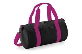Bagbase Mini Barrel Shoulder Bag (Black/Fuchia) (One Size)