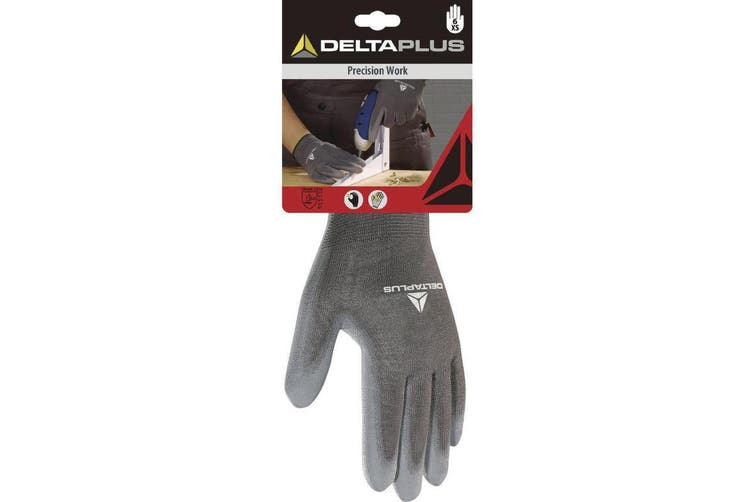 Delta Plus Knitted Polyester Work Safety Gloves (Grey) (6/XS)