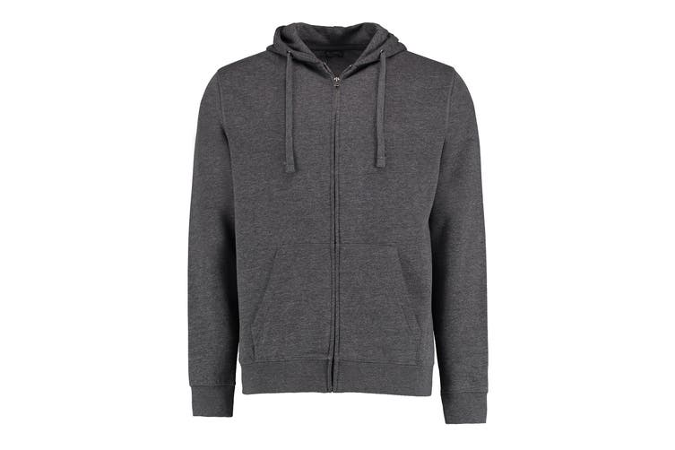 Kustom Kit Mens Full Zip Hooded Sweatshirt (Dark Grey Marl) (L)