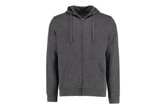 Kustom Kit Mens Full Zip Hooded Sweatshirt (Dark Grey Marl) (S)