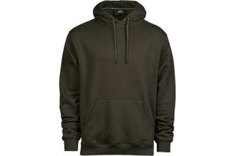 Tee Jays Mens Hooded Cotton Blend Sweatshirt (Dark Olive) (XL)
