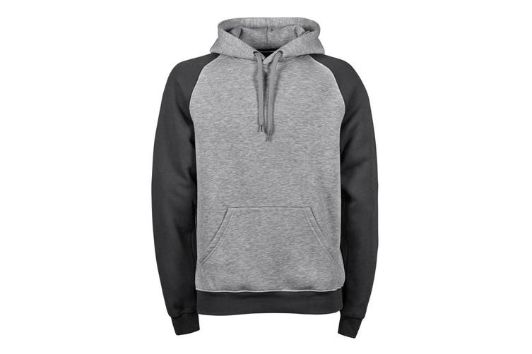 Tee Jays Mens Two-Tone Hooded Sweatshirt (Heather Dark Grey) (3XL)