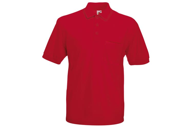 Fruit Of The Loom Mens Pocket 65/35 Pique© Short Sleeve Polo Shirt (Red) (M)