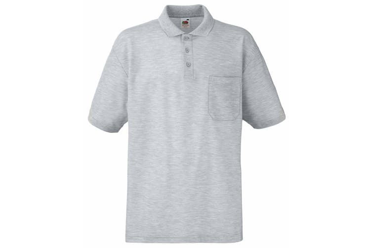 Fruit Of The Loom Mens Pocket 65/35 Pique© Short Sleeve Polo Shirt (Heather Grey) (M)