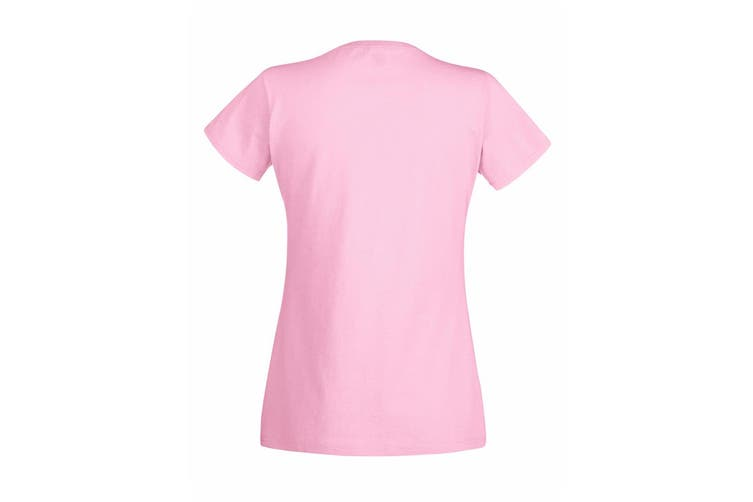 Womens/Ladies Value Fitted Short Sleeve Casual T-Shirt (Pastel Pink) (XX Large)