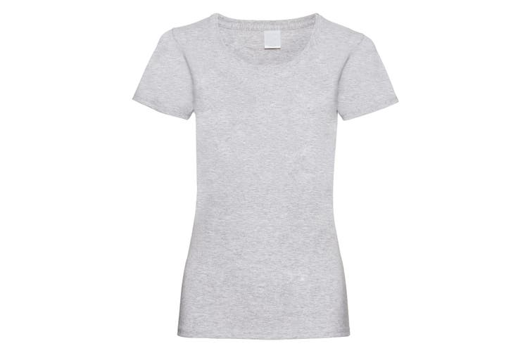 Womens/Ladies Value Fitted Short Sleeve Casual T-Shirt (Grey Marl) (Large)