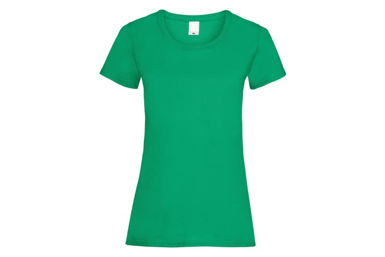 Womens/Ladies Value Fitted Short Sleeve Casual T-Shirt (Green) (Large)