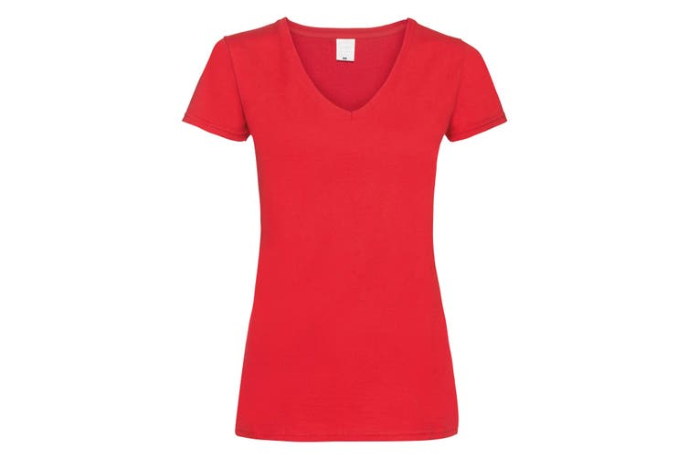 Womens/Ladies Value Fitted V-Neck Short Sleeve Casual T-Shirt (Bright Red) (Large)