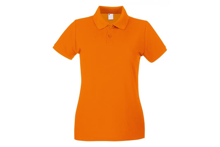 Womens/Ladies Fitted Short Sleeve Casual Polo Shirt (Bright Orange) (Small)