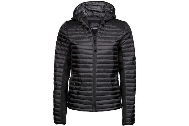 Tee Jays Womens/Ladies Aspen Crossover Jacket (Jet Black/Black Melange) (M)
