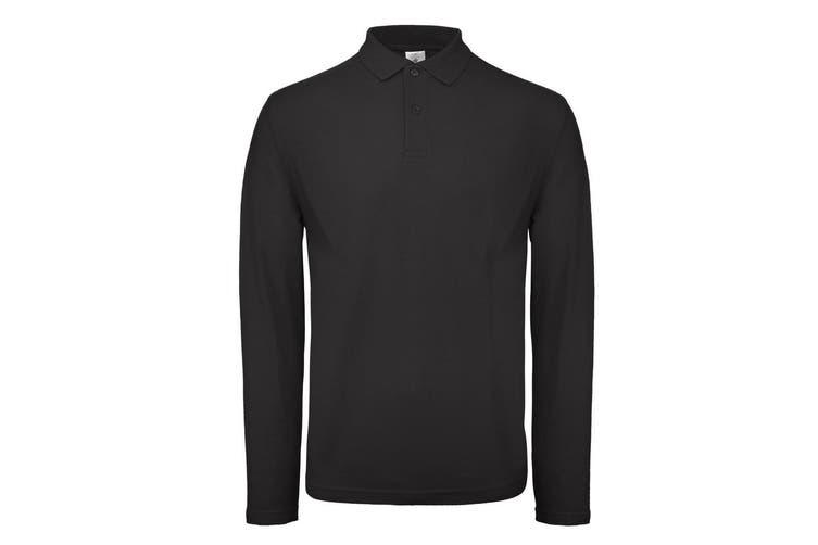 B&C ID.001 Mens Long Sleeve Polo (Jet Black) (3XL)