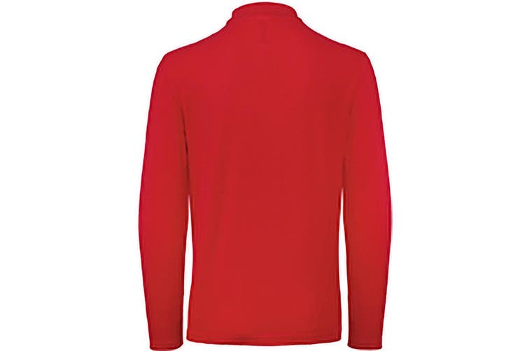 B&C ID.001 Mens Long Sleeve Polo (Crimson) (2XL)