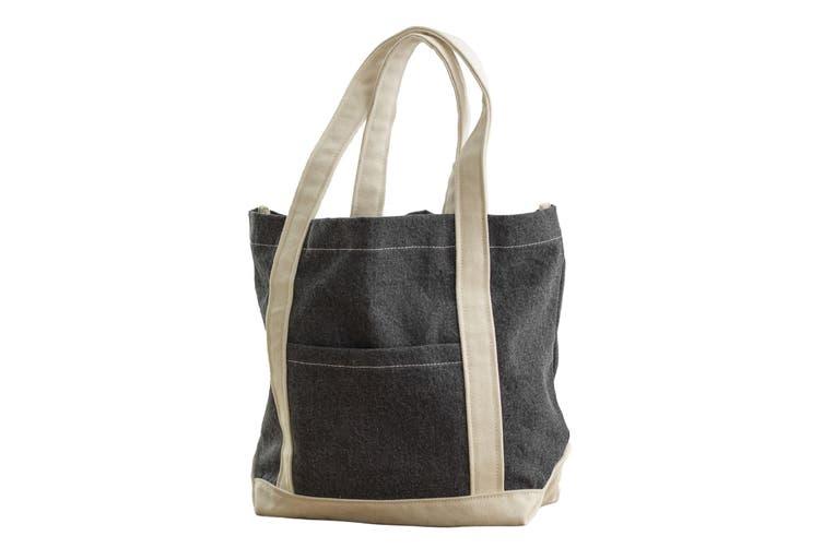 Bags By Jassz Canvas Denim Shopper (Black Stonewash/Beige) (One Size)