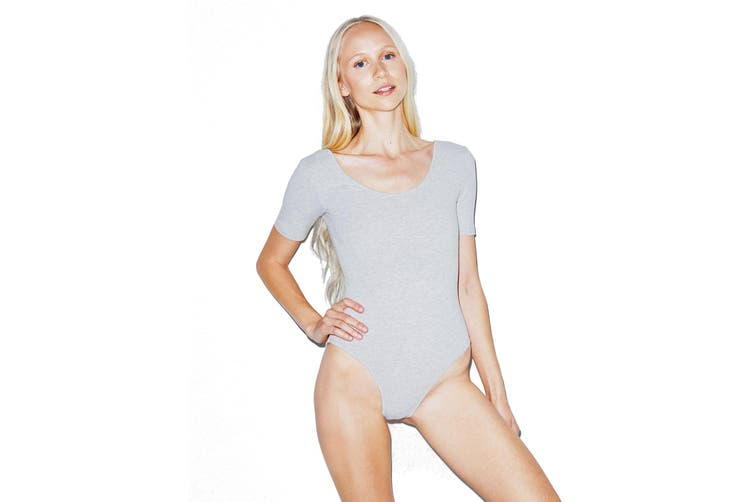 American Apparel Womens/Ladies U Neck Bodysuit (Heather Grey) (L)