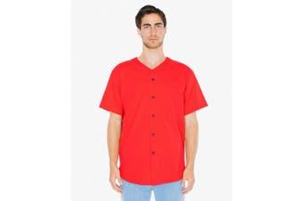 American Apparel Unisex Baseball Jersey (Red) (XS)