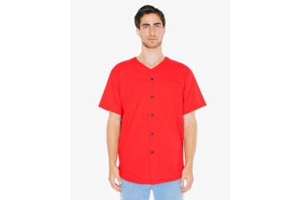American Apparel Unisex Baseball Jersey (Red) (S)