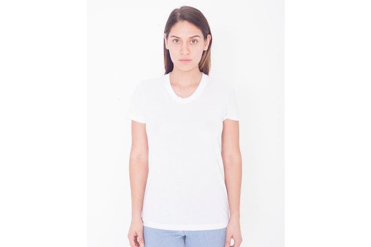 American Apparel Womens/Ladies Short Sleeved Sublimation T-Shirt (White) (2XL)
