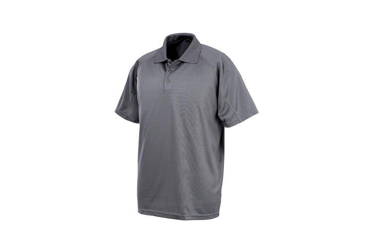 Spiro Impact Mens Performance Aircool Polo T-Shirt (Grey) (XS)