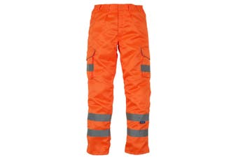 Yoko Mens Hi Vis Cargo Knee Pad Regular Trousers (Hi Vis Orange) (44 Inch)