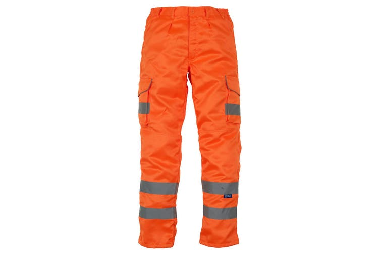 Yoko Mens Hi Vis Cargo Knee Pad Regular Trousers (Hi Vis Orange) (36 Inch)