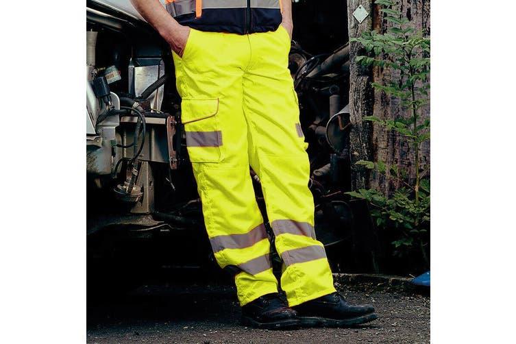 Yoko Mens Hi Vis Cargo Knee Pad Regular Trousers (Hi-Vis Yellow) (30 Inch)