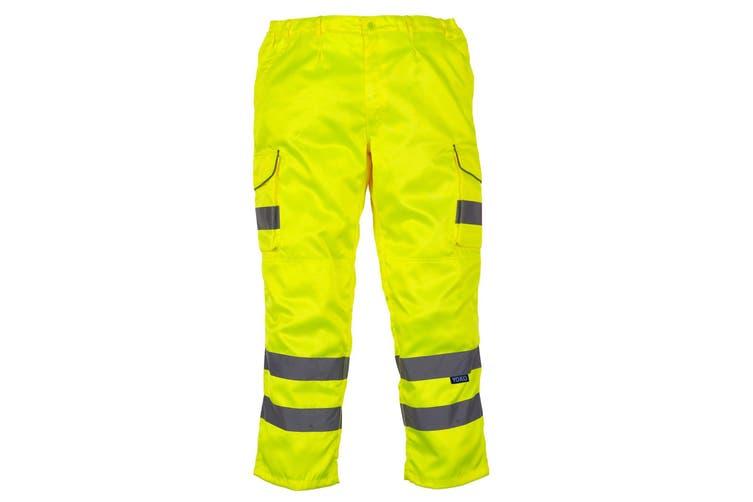 Yoko Mens Hi Vis Cargo Knee Pad Regular Trousers (Hi-Vis Yellow) (34 Inch)