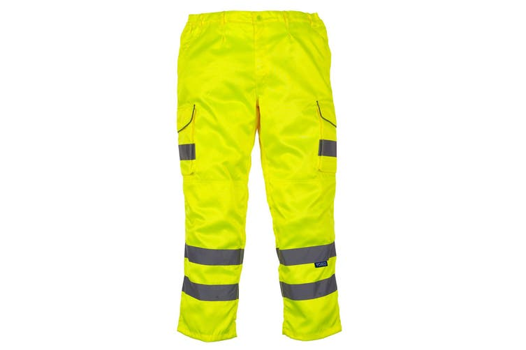 Yoko Mens Hi Vis Cargo Knee Pad Regular Trousers (Hi-Vis Yellow) (40 Inch)