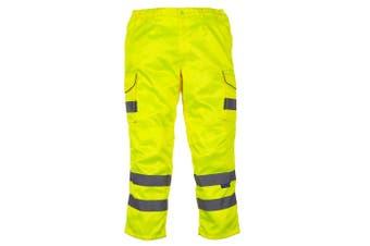 Yoko Mens Hi Vis Cargo Knee Pad Regular Trousers (Hi-Vis Yellow) (48 Inch)