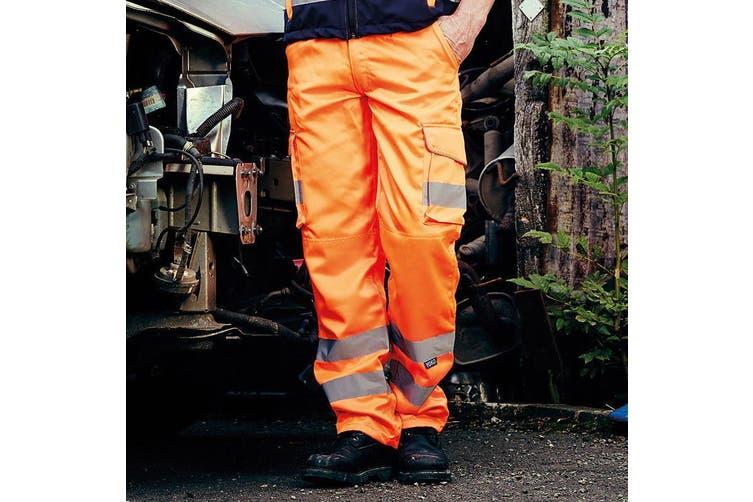 Yoko Mens Hi Vis Cargo Knee Pad Regular Trousers (Hi Vis Orange) (42 Inch)