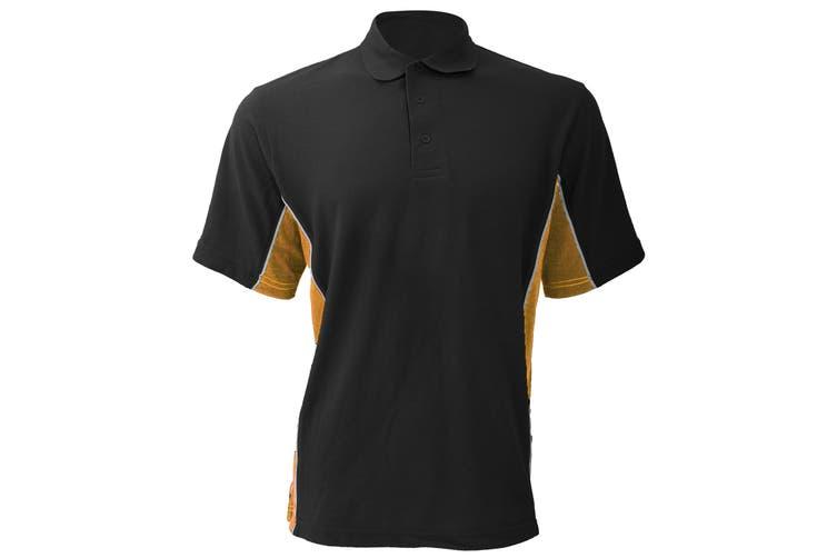Gamegear® Mens Track Pique Short Sleeve Polo Shirt Top (Black/Gold/White) (XL)