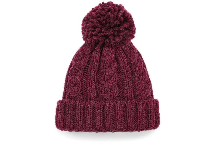 Beechfield Childrens/Kids Cable Knit Melange Beanie (Burgundy) (One Size)