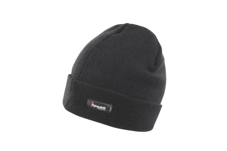 Result Unisex Lightweight Thermal Winter Thinsulate Hat (3M 40g) (Pack of 2) (Black) (One Size)