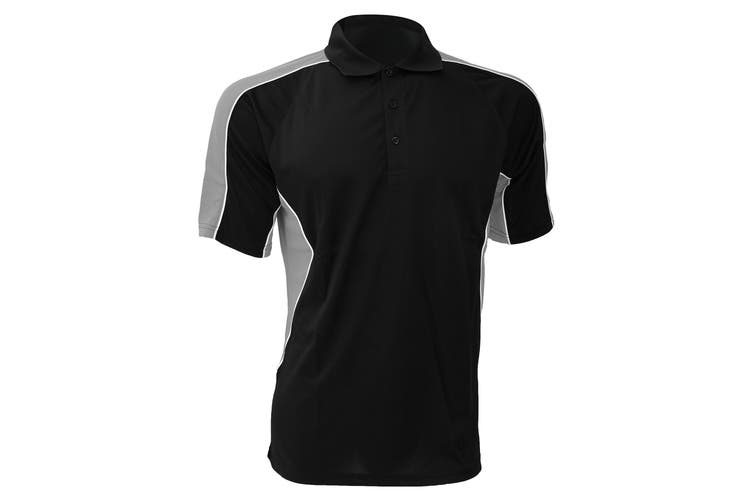 Gamegear® Cooltex Active Mens Short Sleeve Polo Shirt (Black/Grey) (S)