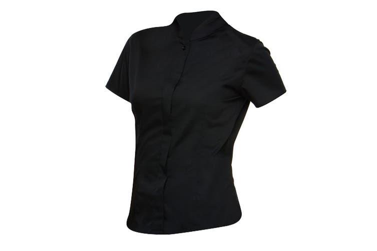 Bargear Ladies Short Sleeved Mandarin Collar Bar Shirt (Pack of 2) (Black) (20)