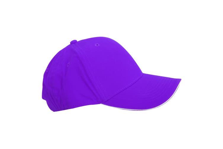 Beechfield Adults Unisex Athleisure Cotton Baseball Cap (Pack of 2) (Purple/White) (One Size)