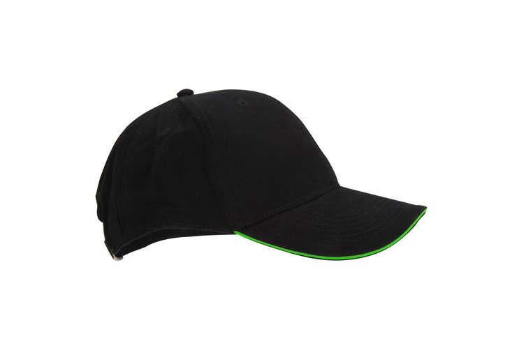 Beechfield Adults Unisex Athleisure Cotton Baseball Cap (Pack of 2) (Black/Lime Green) (One Size)