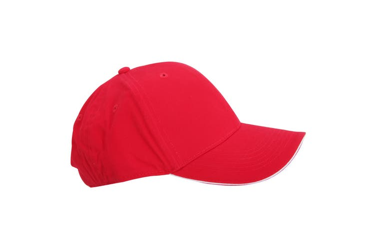 Beechfield Adults Unisex Athleisure Cotton Baseball Cap (Pack of 2) (Classic Red/White) (One Size)
