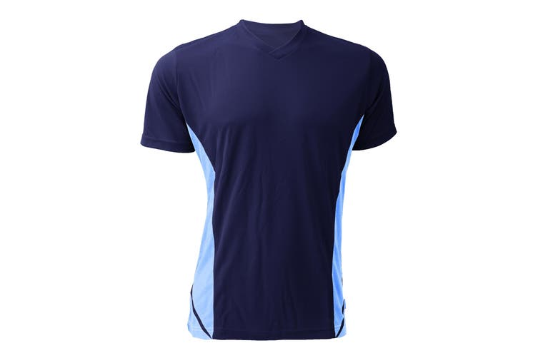 Gamegear Mens Cooltex V-Neck Short Sleeved Team Top / Mens Sportswear (Navy/Light Blue) (2XL)
