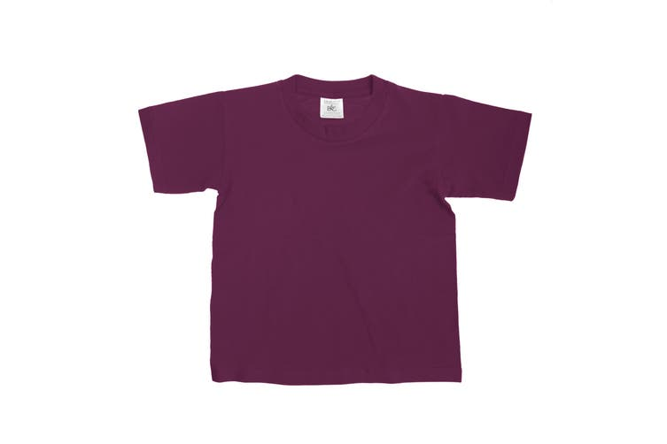 B&C Kids/Childrens Exact 150 Short Sleeved T-Shirt (Pack of 2) (Burgundy) (3-4)