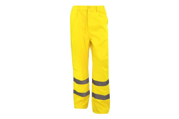 Yoko Workwear Mens Hi-Vis Polycotton Work Trouser (Regular) (Pack of 2) (Hi-Vis Yellow) (28W x Regular)