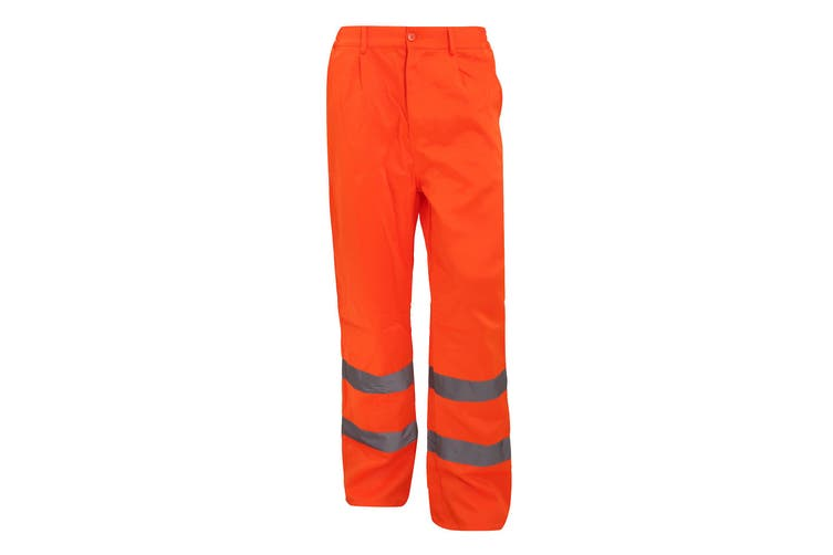 Yoko Workwear Mens Hi-Vis Polycotton Work Trouser (Regular) (Pack of 2) (Hi Vis Orange) (34W x Regular)